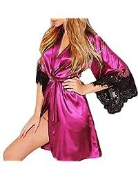 Luckycat Kimono Batas Mujer, Babydoll de Vestido de Kimono Sexy para Mujer Lencería de Encaje