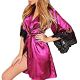 MRULIC Damen leichte Seide Kimono Dressing Nachtwäsche Dessous, Babydoll Spitze Gürtel Bademantel Nachtwäsche Elegante Satin Kleid Robe Silk Satin Nachtwäsche Pyjama(C-Pink,EU-38/CN-L)