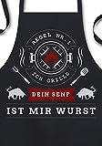 YORA Grillschürze für Männer - Papas Grill Papas Regeln (Sign) - Geschenk für Männer/Vatertagsgeschenk