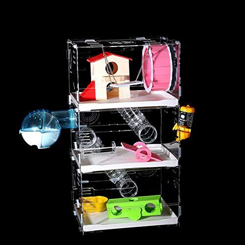 Jnzr Hamster-Käfig 3 Schichten, herrliches Haustier-Käfig-Acrylhamster-Käfig-transparentes Schloss mit Fach-tragbarem Reise-Haustier-Hamster-Käfig,M