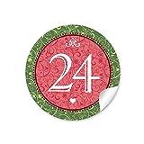 24 Adventskalenderzahlen in grün rot mit Ornamenten und Zahlen 1-24 im