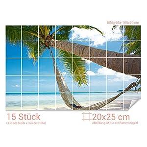 GRAZDesign Fliesentattoo Bad Palme - Aufkleber für Badfliesen Strand - Fliesenfolie Urlaub - Fliesenaufkleber Paradies/Fliesenmaß: 20x25cm (BxH) / 761006_20x25_70