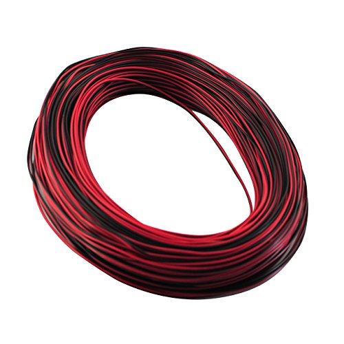 BSOD 10 m/Lot 2 broches Rallonge électrique Câble cuivre étamé Fil Stranded 2 conducteurs pour seule couleur geführtes Noir Rouge Clair Rayures et modules etc., PVC, einfarbige, andere