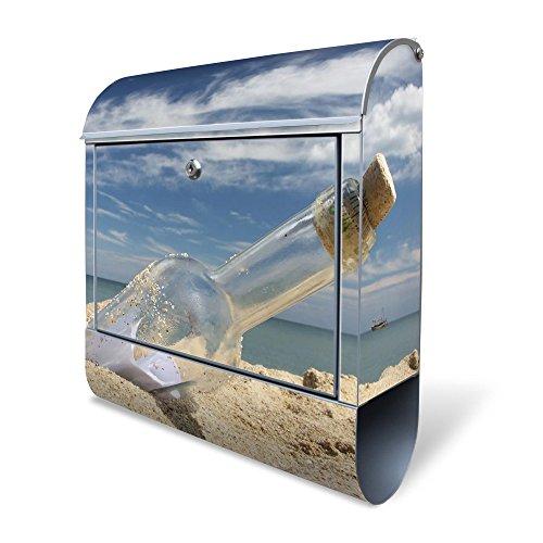 Banjado Design Briefkasten mit Motiv Flaschenpost | Stahl pulverbeschichtet mit Zeitungsrolle | Größe 39x47x14cm, 2 Schlüssel, A4 Einwurf, inkl. Montagematerial