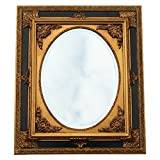 Barock Kunst Wandspiegel oval verzierter Rahmen 50x60 Antik Spiegel gold