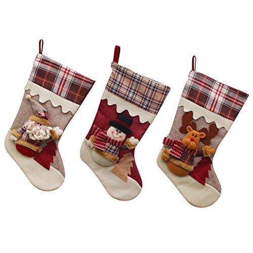 nachten Patchwork Schnee Stiefel mit Plaid Dekoration 45cm (Santa + Schneemann + Elk) (Pre Gefüllt Christmas Stockings)