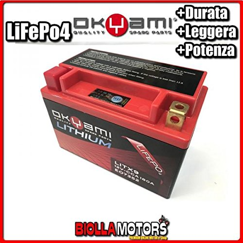 E07352 BATTERIA LITIO OKYAMI YTX9-BS LiFePo4 LITX9 YTX9BS MOTO SCOOTER QUAD CROSS