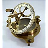Antique Sundial Compass Replica 4in - Solid Brass Pocket Sundial - West London by The New Antique Store