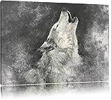 Heulender Wolf Kunst Format: 120x80 auf Leinwand, XXL riesige Bilder fertig gerahmt mit Keilrahmen, Kunstdruck auf Wandbild mit Rahmen, günstiger als Gemälde oder Ölbild, kein Poster oder Plakat