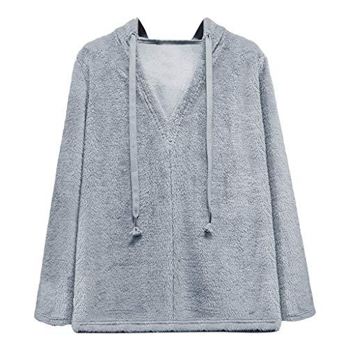 GOKOMO Damen Hoodie Kapuzenpullover Pullover Mit Kapuze(Grau,Medium)