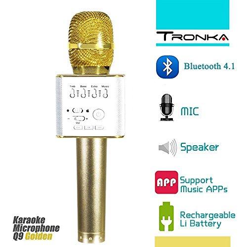 Microphone Bluetooth sans Fil, Q9 Portable Multi-fonction Sans fil Microphone Intelligent Bluetooth Handheld Mic Handheld Pour Apple iPhone iPad IOS Android Téléphone Intelligent PC avec Musique Lecture, Chant Anytime, Mini Home KTV Karaoke