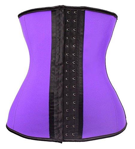 YIANNA Damen Latex Waist Training Sport Korsett Cincher Shaper Body Tailenmieder Corsage Unterbrust Korsage Lila Slimming Shapewear mit 9 Stahlstäbchen,UK-U37G-Purple-2XL (Lila Bustier Korsett)