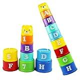 Pingenaneer Giocattolo Impilabile per il Bagno Tazze Impilabili 8 pezzi In Plastica Tazze Arcobaleno Bambini Giocattolo Educativo, Multicolore 2 Set