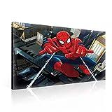 TapetoKids Leinwandbild Disney Spiderman Netzflug in Luft - L - 80 x 60 cm