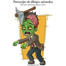 Personajes de dibujos animados libro para colorear para adultos 1, 2 & 3