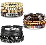 BESTEEL 12PCS Bracelets en Cuir pour Hommes Femmes tressé Bracelet Corde Wrap à la...