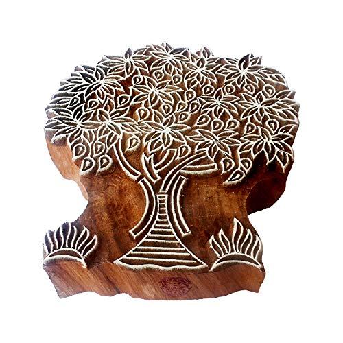 Royal Kraft Handgeschnitzt Drucken Blöcke Groß Mango Baum Gestalten Großer Holz Stempel - Holz Ton Block