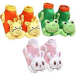 HAPPY CHERRY 3 Pares Bebé Calcetines 3D Dibujos Animados de Animales Zapatos 6-12 Meses Color Aleatorio
