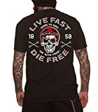 Dragstrip Clothing Mens Live Fast Die Free 59 Biker Hot Rod Rockabilly T`Shirt