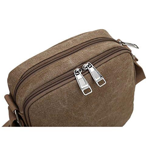 Outreo Borsa Tracolla Uomo Borse da Spalla di Tela Canvas Messenger Bag Vintage Sacchetto di Tablet Piccolo Borsello per Studenti Scuola Università Tasche Viaggio Outdoor Sport Tasca (Verde) Marrone