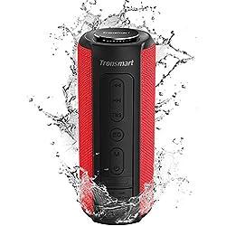 Tronsmart T6 Plus Enceinte Bluetooth 40W, Haut Parleur Portable d'extérieur avec Powerbank, 15 Heures Playtime, étanche IPX6, TWS Stéréo et Basse Puissantes, Speaker Bluetooth 5.0, Mains Libres, Rouge