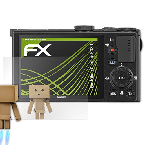 atFoliX Displayfolie kompatibel mit Nikon Coolpix P330 Spiegelfolie, Spiegeleffekt FX Schutzfolie (Nikon P330 Coolpix)