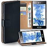 Pochette OneFlow pour LG Optimus L5 II housse Cover avec fentes pour cartes | Flip Case étui housse téléphone portable à rabat | Pochette téléphone portable étui de protection accessoires téléphone portable protection bumper en DEEP-BLACK