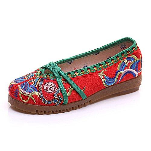 Frauen Bestickte Schuhe Herbst National Style Dance Flache Schuhe ( Farbe : Rot , größe : US:5\UK:4\EUR:35 )