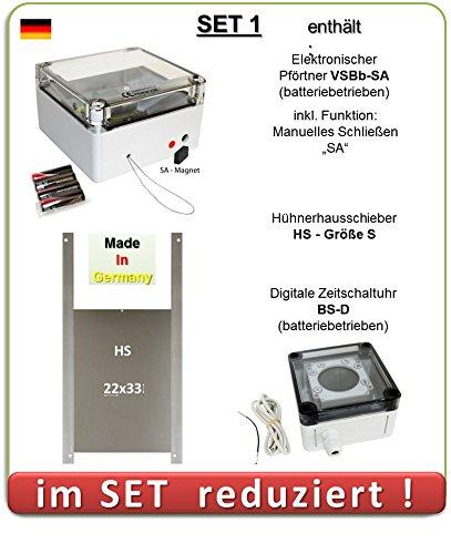 SET 1 - Pförtner mit Batterien, Außenmontage, Zeitschaltuhr, manuelles Schließen, Hühnerklappe AXT-Electronic