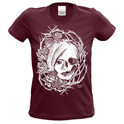 n T-Shirt :-: Halloweenshirt Bikershirt :-: Fade Shirt mit Totenkopf und Rose Farbe: burgund Gr: M (Biker Girl Kostüm Halloween)