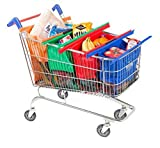 Lot de 4réutilisable épicerie supermarché chariot de courses Sacs Grande capacité Sac de courses dont 1isotherme Sac à provisions réutilisable et maille de 3sacs à provisions