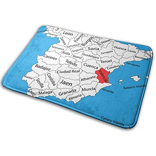 Liuqy Alfombrilla Interior Exterior Alfombra Antideslizante Mapa de Valencia Provincia de España Alto...