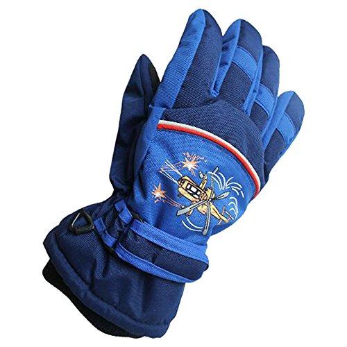 Eastlion 4-10 Jahre alte Schmetterling / Auto / Flugzeug Muster Kinder Skifahren Handschuhe Karikatur Draussen Warme Handschuhe,Stil 3,Dunkelblau,L