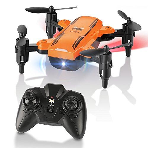 Foto de Mini Drone plegable, H815 RC Drone Night Light Flying RC Quadcopter, One Key aterrizaje, modo sin cabeza 2.4GHz 6-Axis Gyro Pocket Helicopter, Regalos de Pascua Para Niños, Adultos (Naranja)