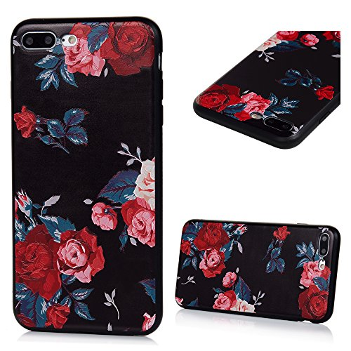 MAXFE.CO TPU Silikon Hülle für iPhone 7 plus Handyhülle Schale Etui Protective Case Cover Rück mit Rosen Skin Silikon Stereo Lithographie Design Rosen