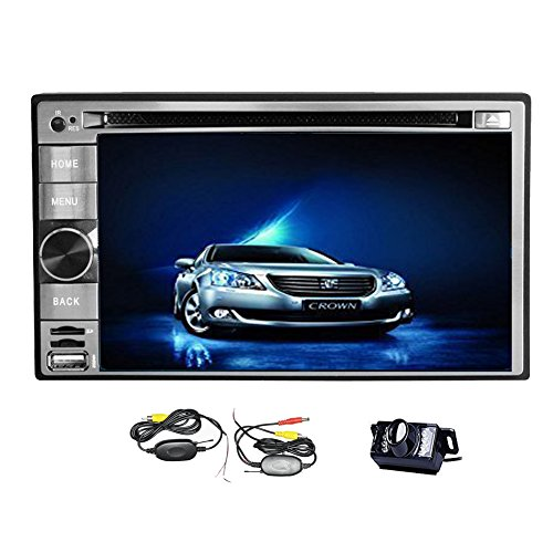 Double Din Car Radio Android 4.2 6.2 Inch Car Stereo With Free Wireless Rear Camera Car DVD PC Player GPS Nav In Dash Navigation Headunit Video Player MP3/MP4/GPS/SD/USB/Fm/Am Audio System Support WiFi/Bluetooth/iPod