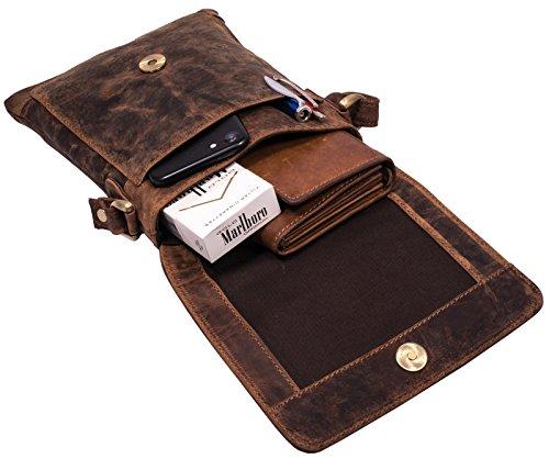 BelleBay hochwertige Leder Handtasche - Umhängetasche | Schultertasche - Organizer aus naturgegerbtem echtem Leder - Reise-Bag/Abendtasche - Ledertasche im Vintage Look (Braun)