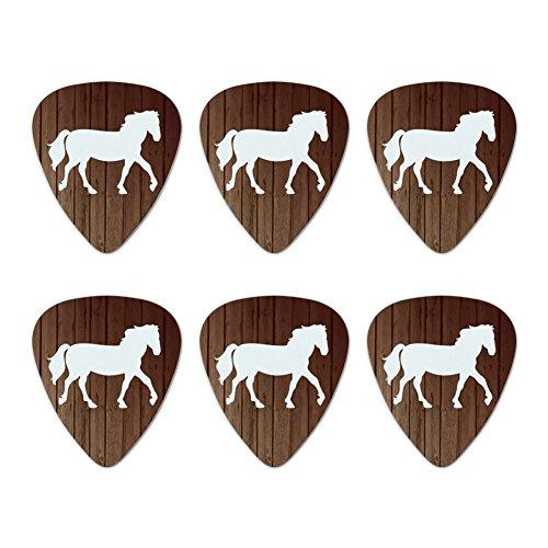 Pferd Silhouette Cowboy Western Neuheit Gitarre Plektrum Plektron Picks Stärke Medium–Set of 6