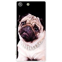 Funda negra con Pug para teléfonos móviles, plástico, Princess Pug Wearing Diamonds, Sony Xperia M5
