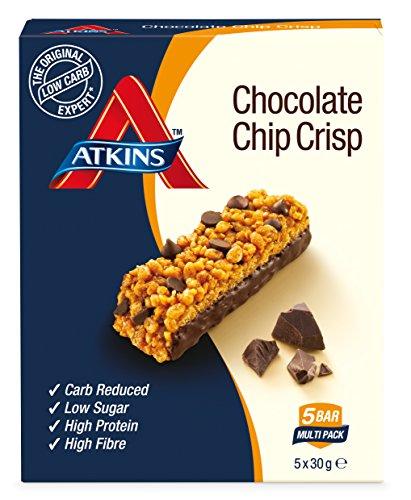 Atkins Chocolate Chip Crisp, weniger Kohlenhydrate, 5 x 30 Gramm