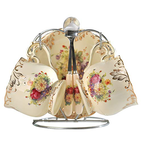 Yolife Floral Tea Tasse und Untertasse Set, Vintage Tee Service set 2 cup flower pattern elfenbeinfarben Floral Tee-set