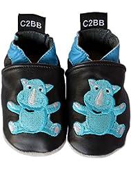C2BB - Chausson bebe cuir souple garçon brodé   Bébé rhino