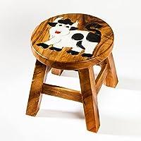 Preisvergleich für Robuster Kinderhocker/Kinderstuhl massiv aus Holz mit Tiermotiv Kuh, 25 cm Sitzhöhe