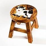 Robuster Kinderhocker/Kinderstuhl massiv aus Holz mit Tiermotiv Kuh, 25 cm Sitzhöhe