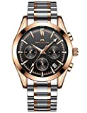 Mens Watches Men Waterproof Chronograph Luminous Luxury Rose Gold Wrist Watch Sport Dress