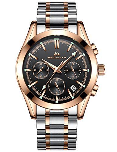Herren Uhren Gold Männer Chronograph Wasserdicht Edelstahl Leuchtende Armbanduhr Mann Datum Kalender Design Analoge Quarz Business Uhr