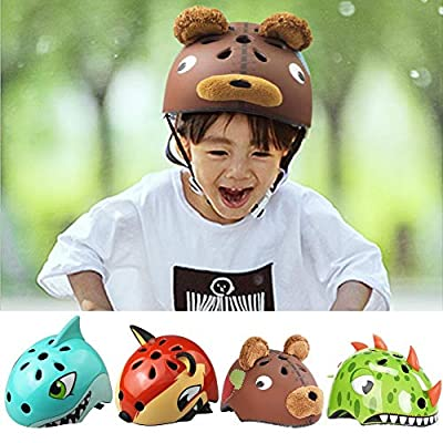 Girls Boys Cycling Helmet Cartoon Children Bicycle Helmet Adjustable Lightweight Children Safety Helmet Cycle Bicycle/Skateboard / Scooter/Skating, Dinosaur/Fox / Shark/Panda from SinceY