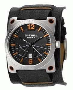 Diesel - DZ1212 - Montre Homme - Quartz Analogique - Montre Acier - Bracelet de Force en Cuir Noir - Dateur