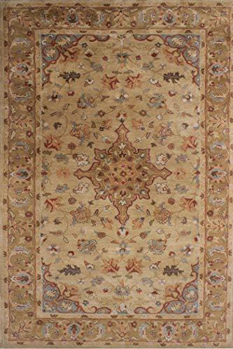 Arts of India Beige Wolle Teppich Traditionell/Orientalischisch Teppich Hand getuftet 5' X 8'(150X245 cm) Bereich Teppich indisch Handgefertigt - Hand Getuftet Teppiche