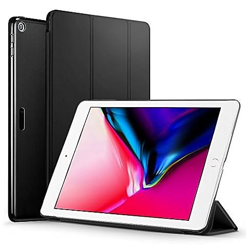 ESR iPad 2017 iPad 9.7 Zoll Hülle, Yippee Bildserie Cover Auto aufwachen / Schlaf Funktion Smart Case Wickelfalz Ledertasche mit Schwarz Rückseite Abdeckung Schutzhülle für iPad 9.7 2017 (Schwarz)